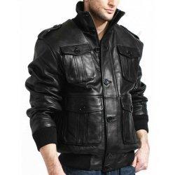 Men Black Lambskin Bomber Jacket