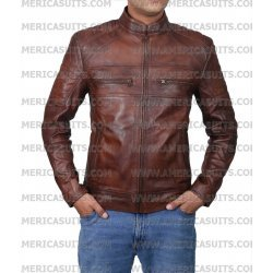 Men Brown Waxed Cafe Racer Retro Jacket