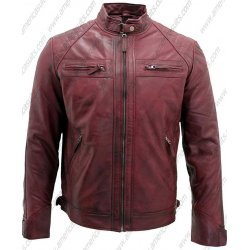 Men Distressed Burgundy Racer Leather Jacket