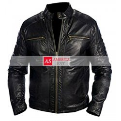 Men Elegant Basic Black Leather Jacket