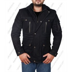 Men Outdoor Black Cotton Jacket