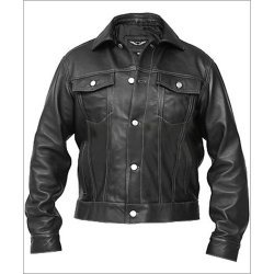 Men Wendy Denim Style Black Leather Jacket