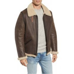 Men winter Shearling Leather Jacket
