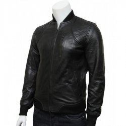 Mens Biker Slim Fit Bomber Jacket