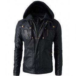 Mens Black Faux Leather Jacket with Hood