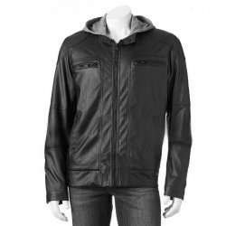 Mens Black Hoodie Faux Leather Moto Jacket
