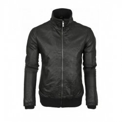 Mens Black Leather Retro Bomber Jacket