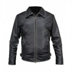 Mens Black Leather Stitched Jacket