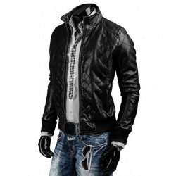 Mens Designer Slim Fit Black Quilted Jacket