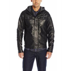 Men's Faux Leather Bomber Jacket with Fleece Hood
