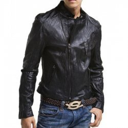 Mens Slim Fit Bike Asymmetrical Jacket