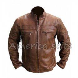 Mens Vintage Biker Brown Leather Jacket