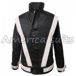 Michael Jackson Thriller black with white stripes Leather Jacket