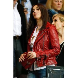 Monica Bellucci Red Leather Jacket
