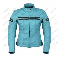 Motorbike Ladies Blue Leather Jacket