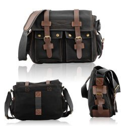 Men's Vintage Canvas Leather Satchel School Military Shoulder Bag Messenger In Black Color
