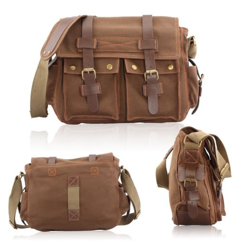 Men's Vintage Canvas Leather Satchel School Military Shoulder Bag Messenger In Brown Color