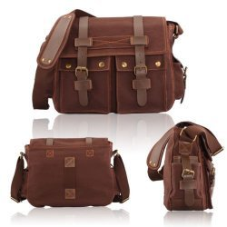 Men's Vintage Canvas Leather Satchel School Military Shoulder Bag Messenger In coffee Color