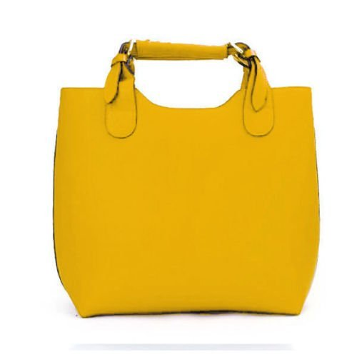 Ladies Womens faux Leather Shoulder Tote Hobo Handbag large Purse Bag In Yellow