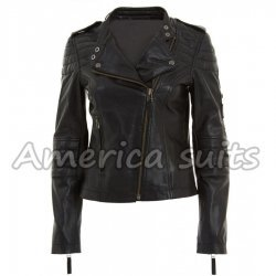 Quilted Womens Black Leather Moto Jacket