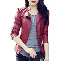 Red Faux Leather Biker Style Women