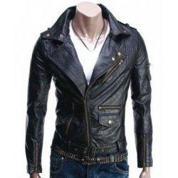 Slim fit Black Leather Jacket Mens Biker