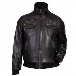 Slim Fit Mens Black Leather Bomber Jacket
