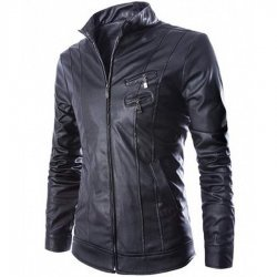 Slim fit Mens Faux Leather Biker Jacket