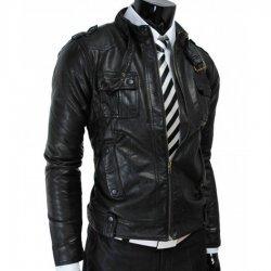 Slim fit Mens Vintage Leather Jacket
