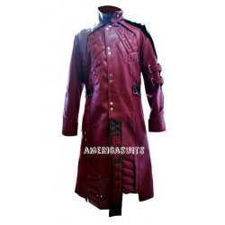 Starlord Guardians of the Galaxy Red Leather Trench Coat