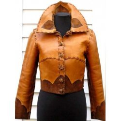 Vintage Women Tan Handmade Leather Jacket