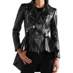 Women Asymmetrical Zipper Black Leather Jacket