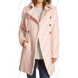 Women Baby Pink Double Breasted Coat