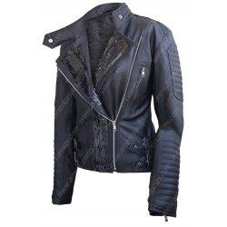 Women Biker Asymmetrical Black Leather Jacket