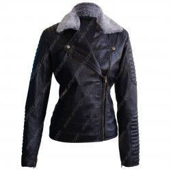 Women Biker Padded Black Leather Jacket