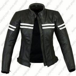 Women Black Biker Jacket With Stripes