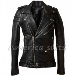 Women Black Leather MotorCycle Jacket