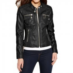 women Black Leather moto Street Style Jacket