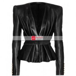 Women Black Peplum Balmain Leather Jacket