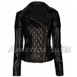Women Black Quilted Biker Jacket