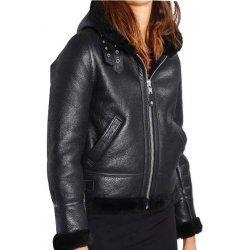 Women Black Shearling Leather Hooded Jacket