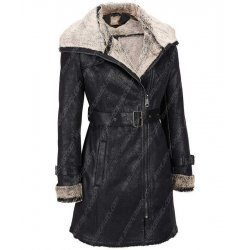 Women Black Short Trench Jacket