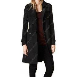 Women Black Wool Blend Trench Coat
