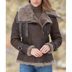 women Shearling Sheepskin Leather Jacket