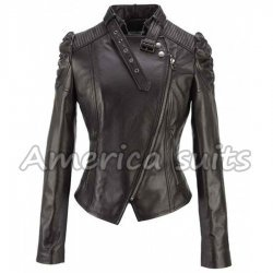 Women Cropped Leather Jacket