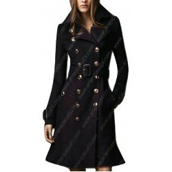 Women Double Breasted Wool Trench Coat