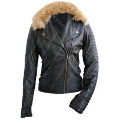 Women Fur Black Leather Biker Jacket
