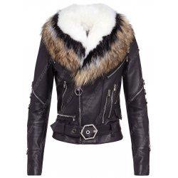 Women Fur Collar Black Leather Jacket