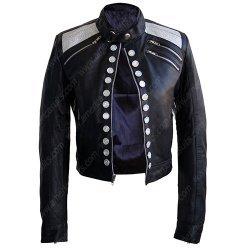 Women Long Sleeves Black Leather Jacket