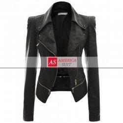 Women Power Shoulder Black Leather Jacket